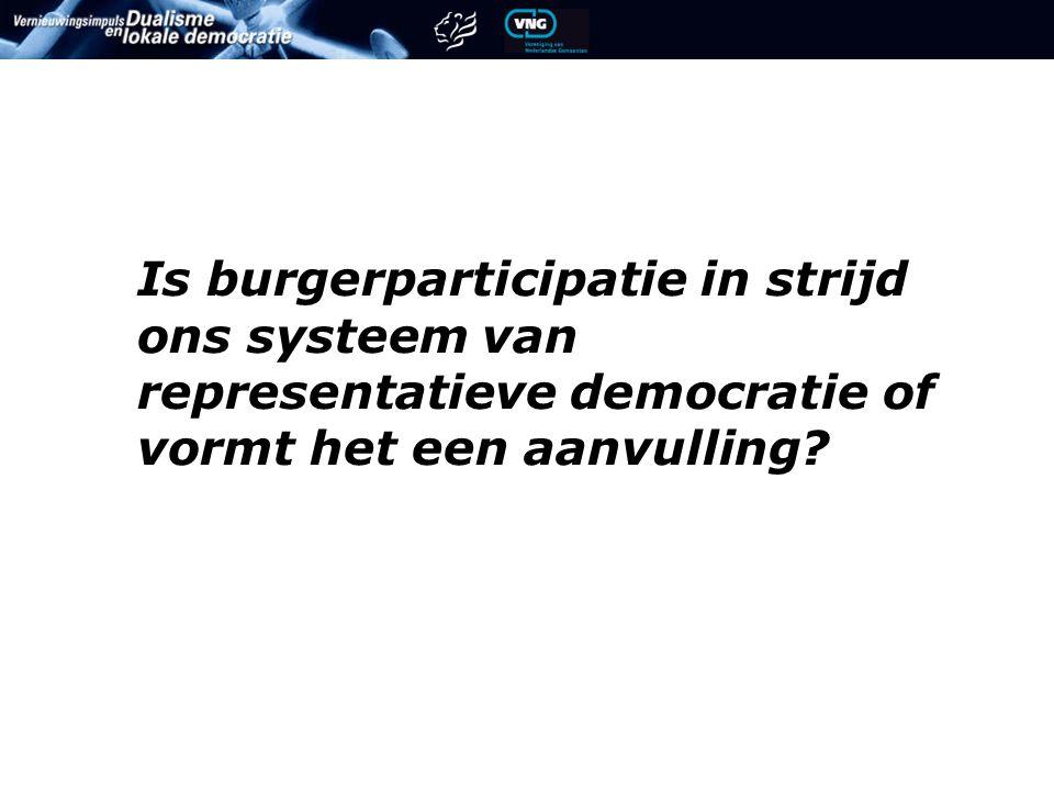 Is burgerparticipatie in strijd ons systeem van representatieve democratie of vormt het een aanvulling?