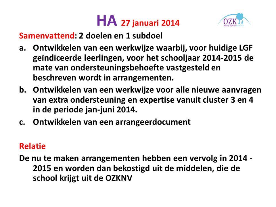 HA 27 januari 2014 Samenvattend: 2 doelen en 1 subdoel a.Ontwikkelen van een werkwijze waarbij, voor huidige LGF geïndiceerde leerlingen, voor het schooljaar 2014-2015 de mate van ondersteuningsbehoefte vastgesteld en beschreven wordt in arrangementen.