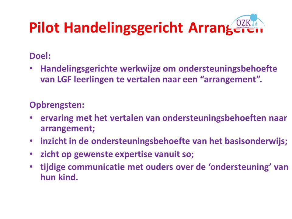 Pilot Handelingsgericht Arrangeren Doel: Handelingsgerichte werkwijze om ondersteuningsbehoefte van LGF leerlingen te vertalen naar een arrangement .