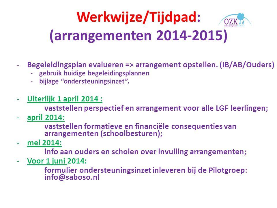Werkwijze/Tijdpad: (arrangementen 2014-2015) -Begeleidingsplan evalueren => arrangement opstellen.