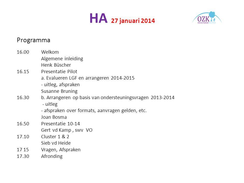 HA 27 januari 2014 Programma 16.00 Welkom Algemene inleiding Henk Büscher 16.15 Presentatie Pilot a.