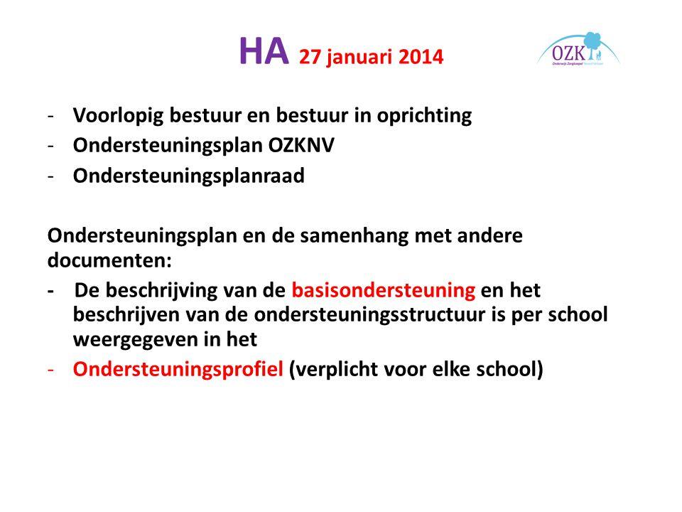 HA 27 januari 2014 -Voorlopig bestuur en bestuur in oprichting -Ondersteuningsplan OZKNV -Ondersteuningsplanraad Ondersteuningsplan en de samenhang met andere documenten: - De beschrijving van de basisondersteuning en het beschrijven van de ondersteuningsstructuur is per school weergegeven in het -Ondersteuningsprofiel (verplicht voor elke school)