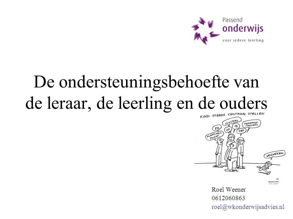 Roel Weener 0612060863 roel@wkonderwijsadvies.nl De ondersteuningsbehoefte van de leraar, de leerling en de ouders