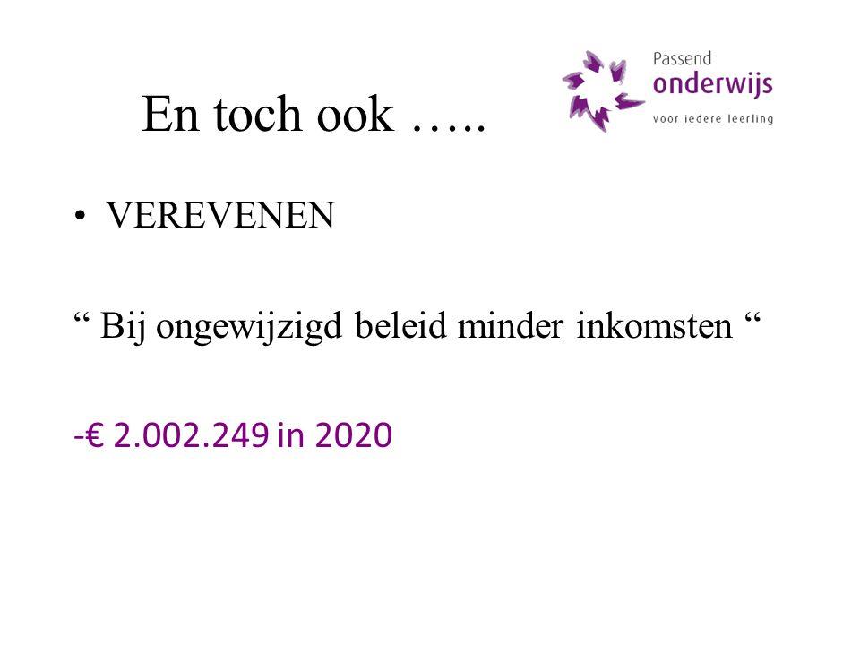 En toch ook ….. VEREVENEN Bij ongewijzigd beleid minder inkomsten -€ 2.002.249 in 2020