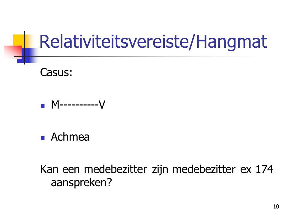 10 Relativiteitsvereiste/Hangmat Casus: M----------V Achmea Kan een medebezitter zijn medebezitter ex 174 aanspreken?