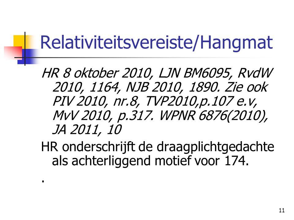 11 Relativiteitsvereiste/Hangmat HR 8 oktober 2010, LJN BM6095, RvdW 2010, 1164, NJB 2010, 1890. Zie ook PIV 2010, nr.8, TVP2010,p.107 e.v, MvV 2010,
