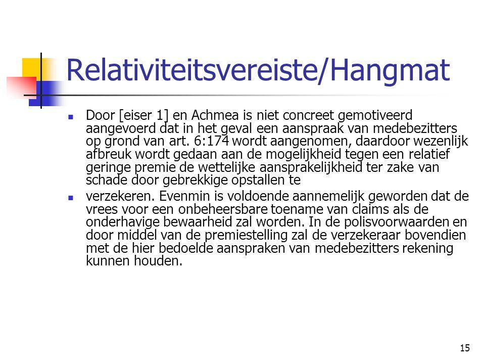 15 Relativiteitsvereiste/Hangmat Door [eiser 1] en Achmea is niet concreet gemotiveerd aangevoerd dat in het geval een aanspraak van medebezitters op