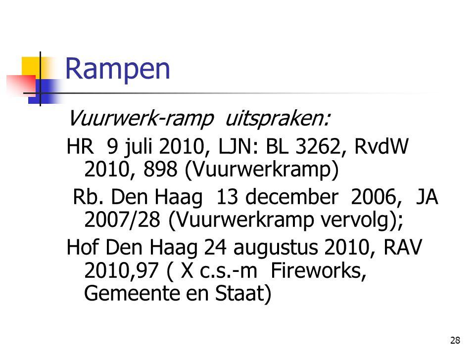 28 Rampen Vuurwerk-ramp uitspraken: HR 9 juli 2010, LJN: BL 3262, RvdW 2010, 898 (Vuurwerkramp) Rb. Den Haag 13 december 2006, JA 2007/28 (Vuurwerkram