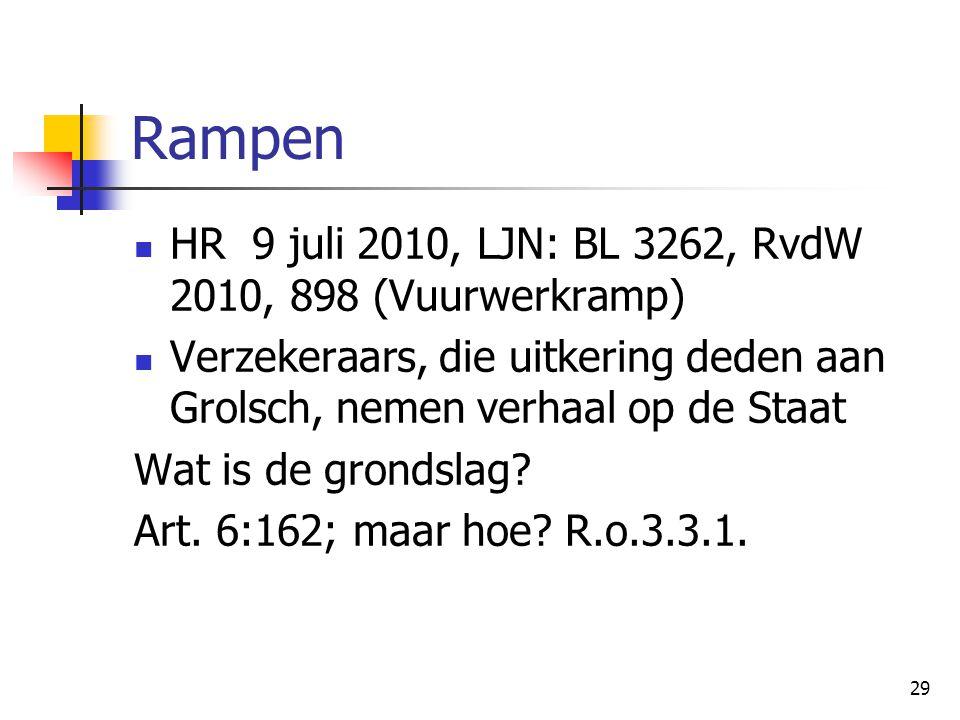 29 Rampen HR 9 juli 2010, LJN: BL 3262, RvdW 2010, 898 (Vuurwerkramp) Verzekeraars, die uitkering deden aan Grolsch, nemen verhaal op de Staat Wat is