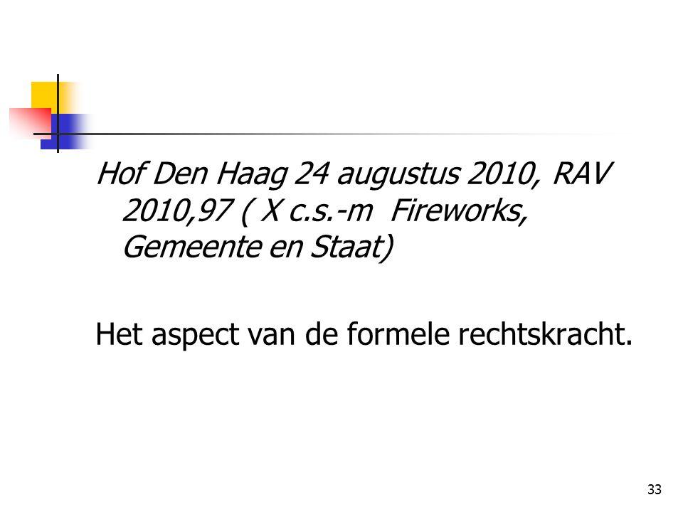 33 Hof Den Haag 24 augustus 2010, RAV 2010,97 ( X c.s.-m Fireworks, Gemeente en Staat) Het aspect van de formele rechtskracht.