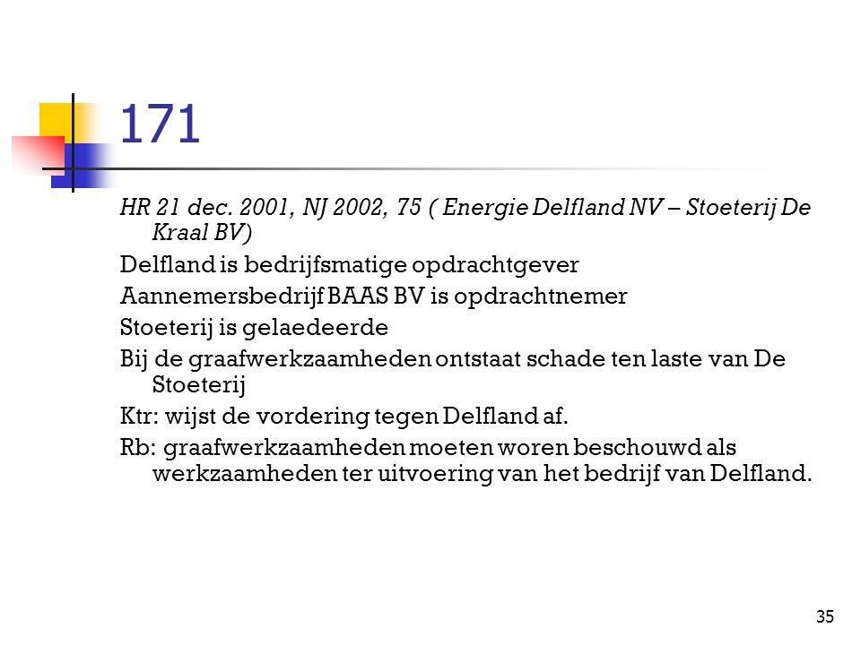 35 171 HR 21 dec. 2001, NJ 2002, 75 ( Energie Delfland NV – Stoeterij De Kraal BV) Delfland is bedrijfsmatige opdrachtgever Aannemersbedrijf BAAS BV i