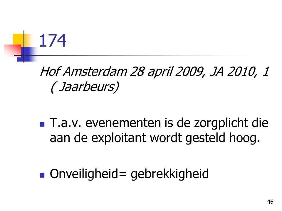 46 174 Hof Amsterdam 28 april 2009, JA 2010, 1 ( Jaarbeurs) T.a.v. evenementen is de zorgplicht die aan de exploitant wordt gesteld hoog. Onveiligheid