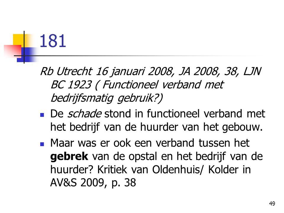 49 181 Rb Utrecht 16 januari 2008, JA 2008, 38, LJN BC 1923 ( Functioneel verband met bedrijfsmatig gebruik?) De schade stond in functioneel verband met het bedrijf van de huurder van het gebouw.