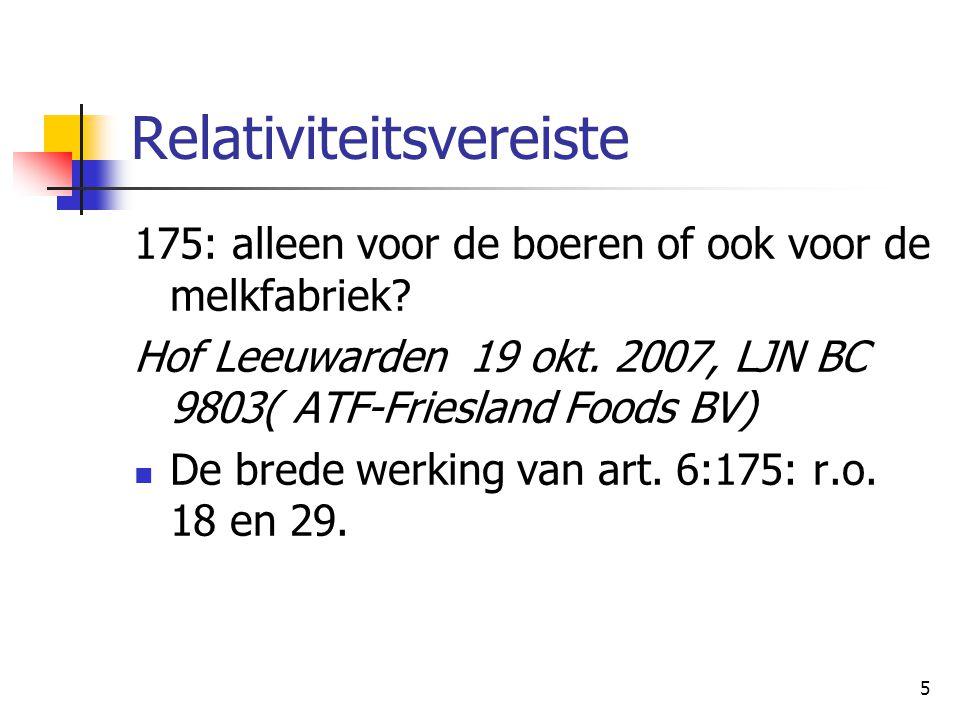 5 Relativiteitsvereiste 175: alleen voor de boeren of ook voor de melkfabriek? Hof Leeuwarden 19 okt. 2007, LJN BC 9803( ATF-Friesland Foods BV) De br