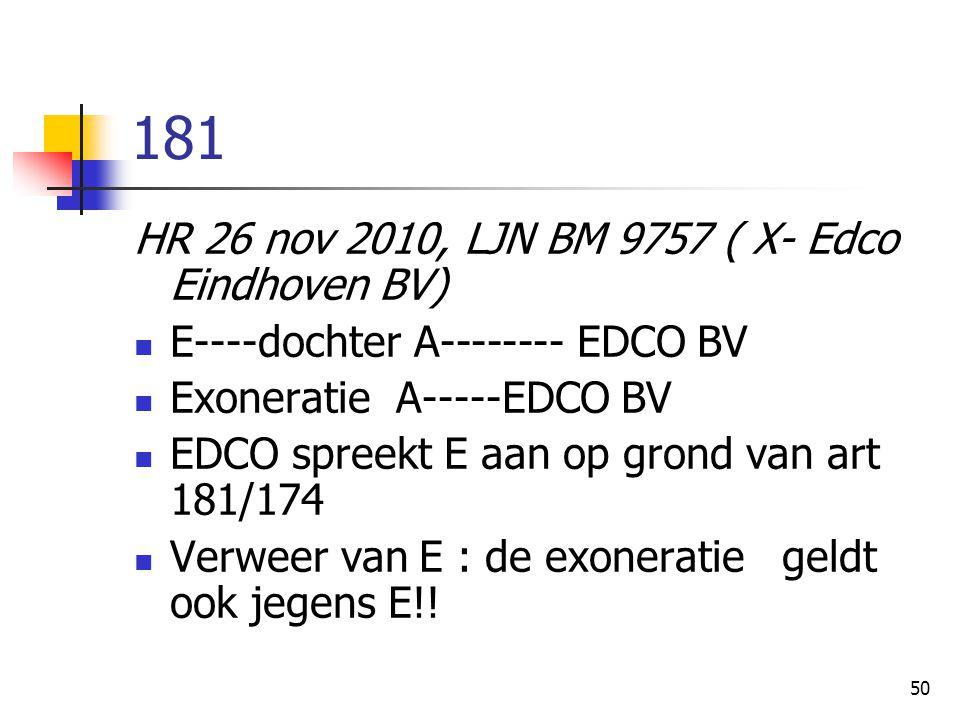50 181 HR 26 nov 2010, LJN BM 9757 ( X- Edco Eindhoven BV) E----dochter A-------- EDCO BV Exoneratie A-----EDCO BV EDCO spreekt E aan op grond van art 181/174 Verweer van E : de exoneratie geldt ook jegens E!!
