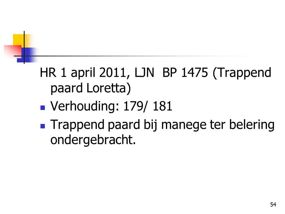 54 HR 1 april 2011, LJN BP 1475 (Trappend paard Loretta) Verhouding: 179/ 181 Trappend paard bij manege ter belering ondergebracht.