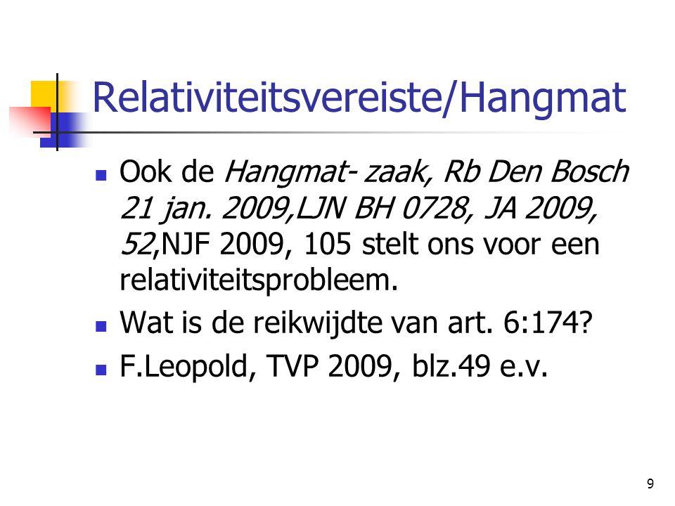 9 Relativiteitsvereiste/Hangmat Ook de Hangmat- zaak, Rb Den Bosch 21 jan. 2009,LJN BH 0728, JA 2009, 52,NJF 2009, 105 stelt ons voor een relativiteit