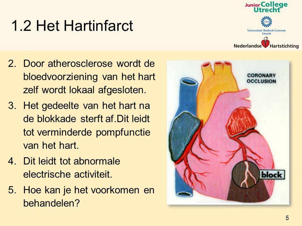 1.2 Het Hartinfarct 2.Door atherosclerose wordt de bloedvoorziening van het hart zelf wordt lokaal afgesloten.