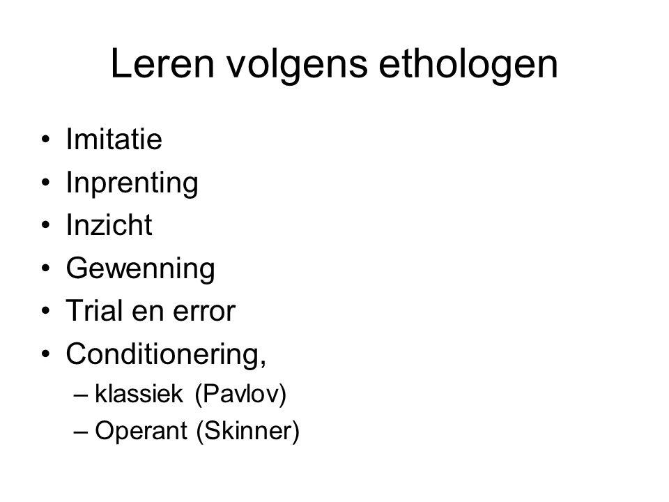 Leren volgens ethologen Imitatie Inprenting Inzicht Gewenning Trial en error Conditionering, –klassiek (Pavlov) –Operant (Skinner)