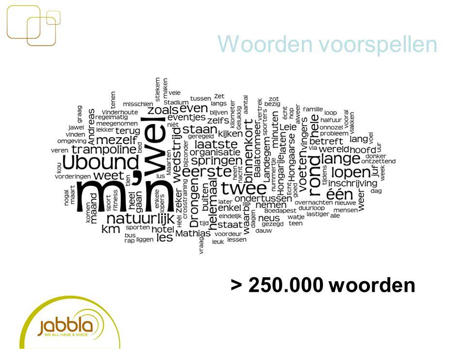 Woorden voorspellen > 250.000 woorden