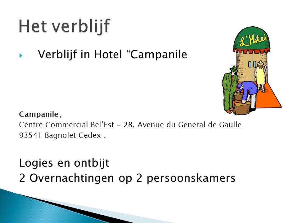 " Verblijf in Hotel ""Campanile Campanile, Centre Commercial Bel'Est - 28, Avenue du General de Gaulle 93541 Bagnolet Cedex. Logies en ontbijt 2 Overna"