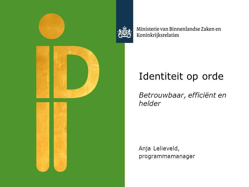 Identiteit op orde Betrouwbaar, efficiënt en helder Anja Lelieveld, programmamanager