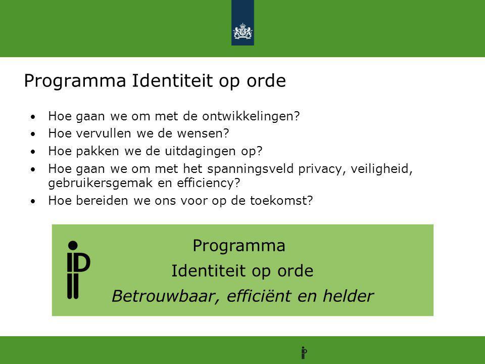 Programma Identiteit op orde Betrouwbaar, efficiënt en helder Programma Identiteit op orde Hoe gaan we om met de ontwikkelingen? Hoe vervullen we de w