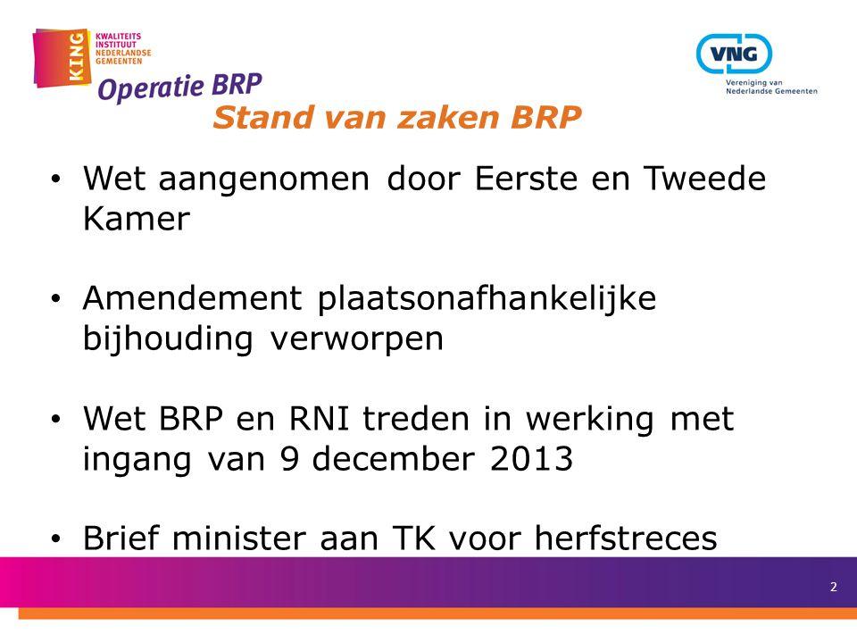 2 Stand van zaken BRP Wet aangenomen door Eerste en Tweede Kamer Amendement plaatsonafhankelijke bijhouding verworpen Wet BRP en RNI treden in werking