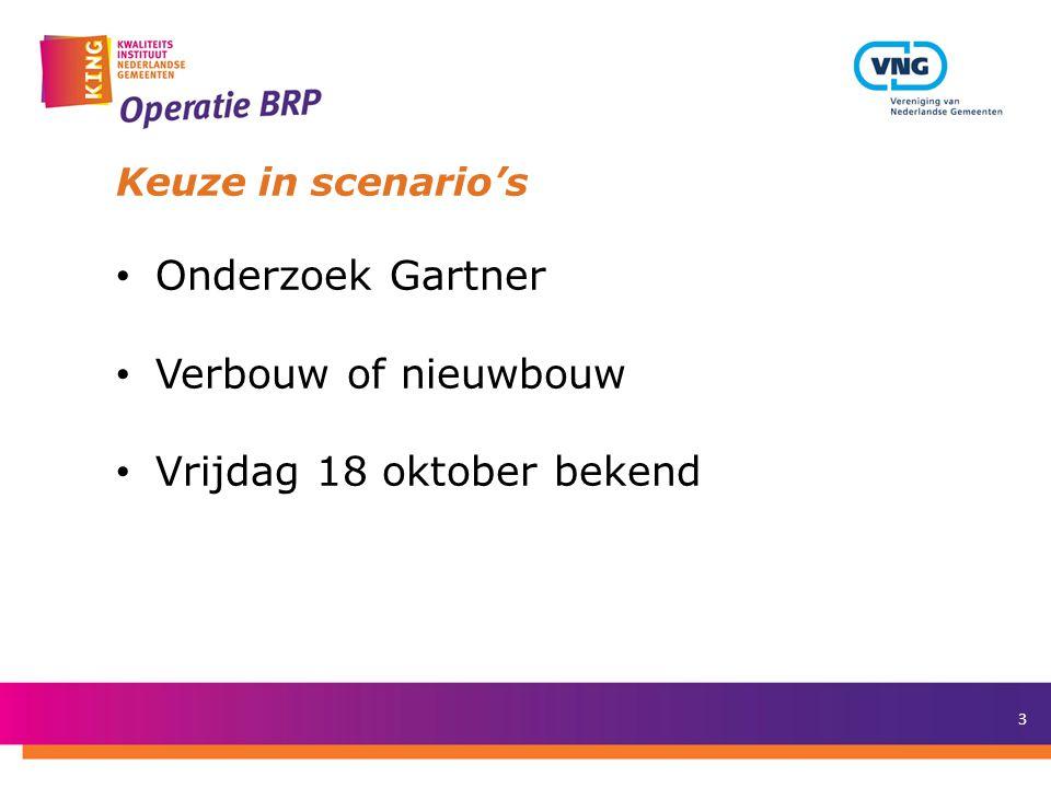 3 Keuze in scenario's Onderzoek Gartner Verbouw of nieuwbouw Vrijdag 18 oktober bekend