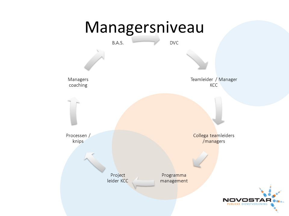 Managersniveau DVC Teamleider / Manager KCC Collega teamleiders /managers Programma management Project leider KCC Processen / knips Managers coaching