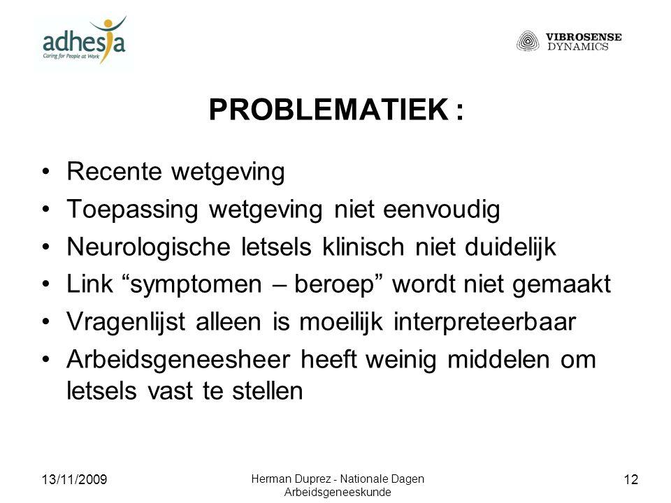 13/11/2009 Herman Duprez - Nationale Dagen Arbeidsgeneeskunde 13 DOEL VAN HET ONDERZOEK 1.Vroegtijdige opsporing 2.Opvolging evolutie van de letsels 3.Staving dossier voor Fonds Beroepsziekten