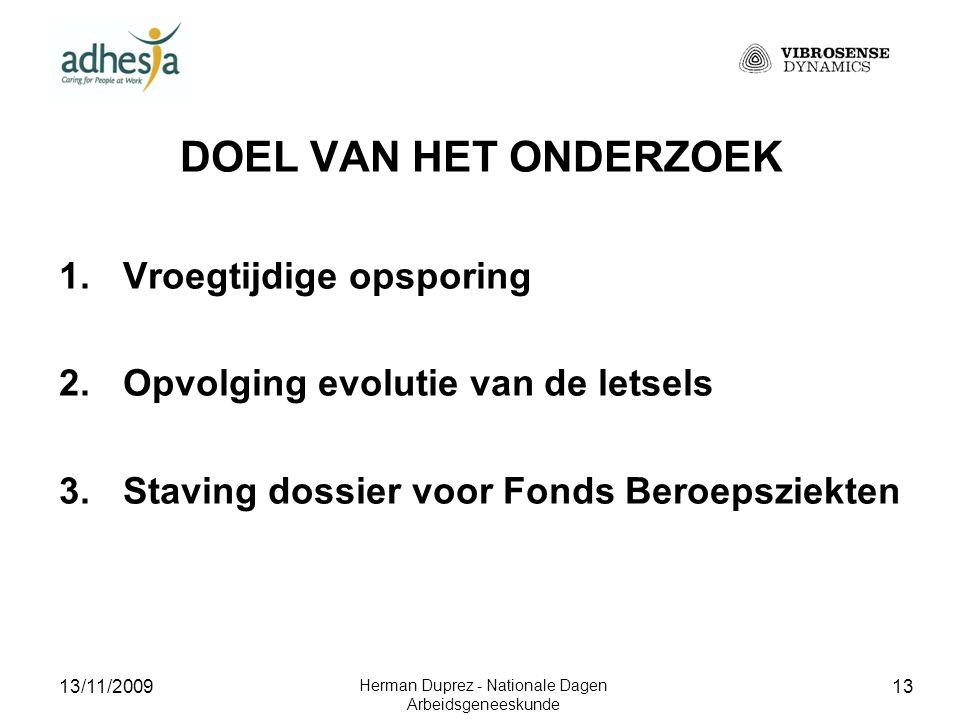 13/11/2009 Herman Duprez - Nationale Dagen Arbeidsgeneeskunde 14 DE VIBROSENSE ® METER