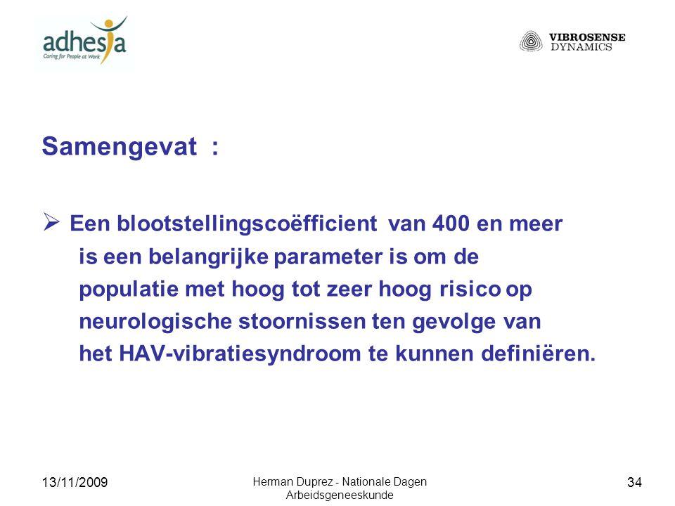13/11/2009 Herman Duprez - Nationale Dagen Arbeidsgeneeskunde 35 3.3.