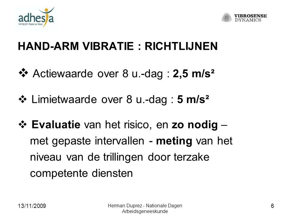 13/11/2009 Herman Duprez - Nationale Dagen Arbeidsgeneeskunde 7 PROBLEMATIEK : Recente wetgeving