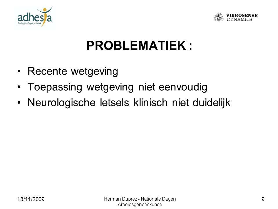 13/11/2009 Herman Duprez - Nationale Dagen Arbeidsgeneeskunde 10 PROBLEMATIEK : Recente wetgeving Toepassing wetgeving niet eenvoudig Neurologische letsels klinisch niet duidelijk Link symptomen – beroep wordt niet gemaakt