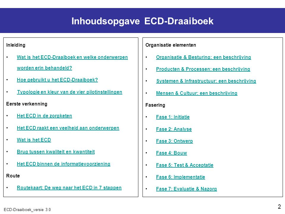 2 ECD-Draaiboek_versie 3.0 Inhoudsopgave ECD-Draaiboek Inleiding Wat is het ECD-Draaiboek en welke onderwerpen worden erin behandeld?Wat is het ECD-Draaiboek en welke onderwerpen worden erin behandeld.