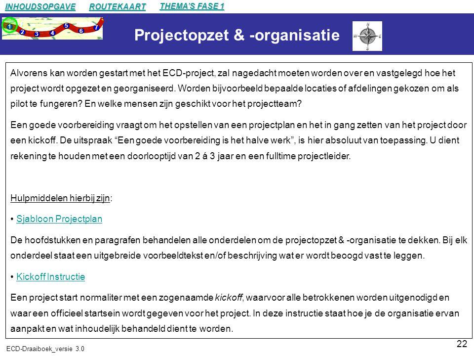 22 ECD-Draaiboek_versie 3.0 Projectopzet & -organisatie Alvorens kan worden gestart met het ECD-project, zal nagedacht moeten worden over en vastgelegd hoe het project wordt opgezet en georganiseerd.