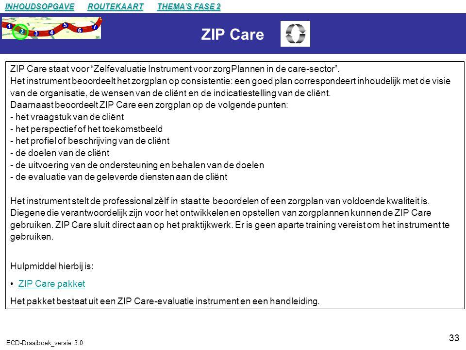 33 ECD-Draaiboek_versie 3.0 ZIP Care ZIP Care staat voor Zelfevaluatie Instrument voor zorgPlannen in de care-sector .