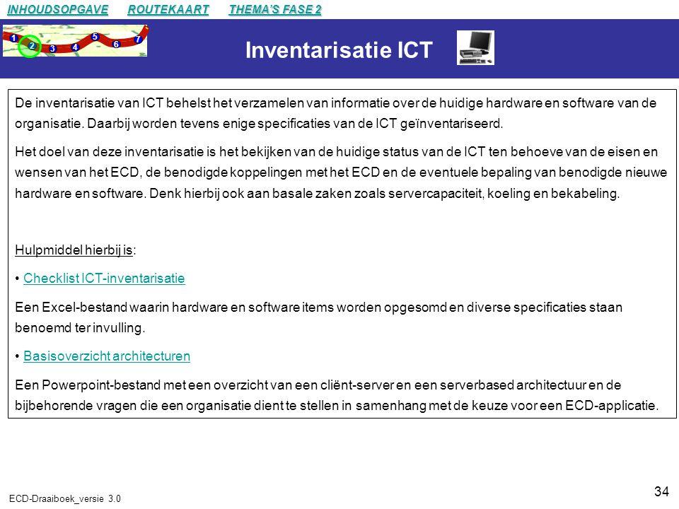 34 ECD-Draaiboek_versie 3.0 Inventarisatie ICT De inventarisatie van ICT behelst het verzamelen van informatie over de huidige hardware en software van de organisatie.