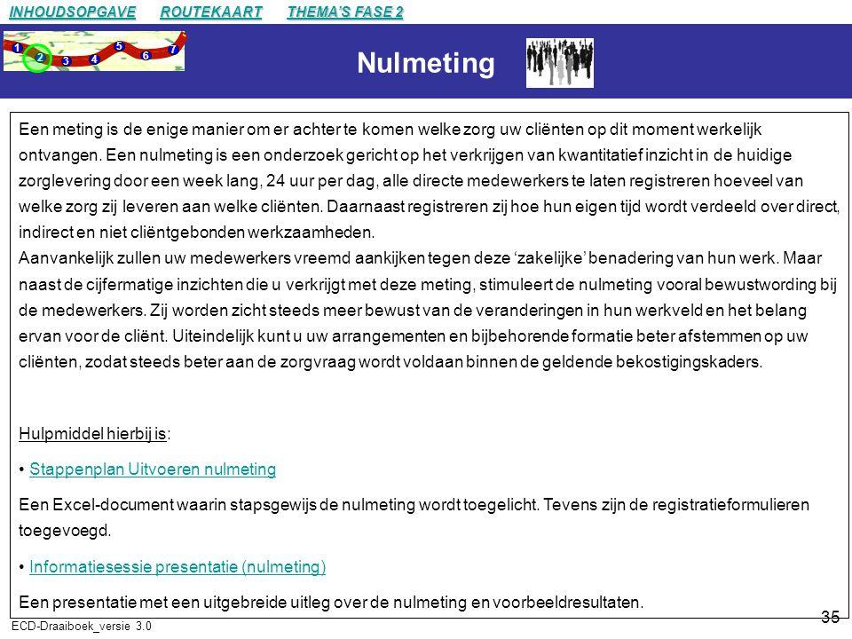 35 ECD-Draaiboek_versie 3.0 Nulmeting Een meting is de enige manier om er achter te komen welke zorg uw cliënten op dit moment werkelijk ontvangen.