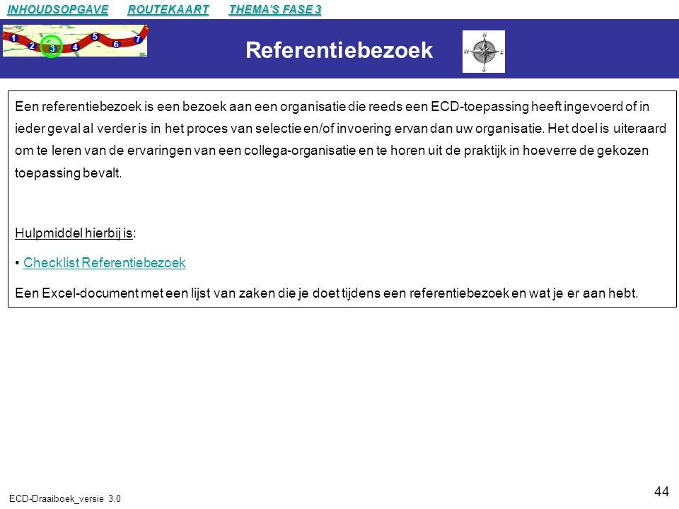 44 ECD-Draaiboek_versie 3.0 Referentiebezoek Een referentiebezoek is een bezoek aan een organisatie die reeds een ECD-toepassing heeft ingevoerd of in ieder geval al verder is in het proces van selectie en/of invoering ervan dan uw organisatie.
