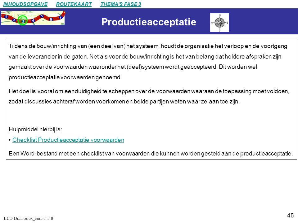 45 ECD-Draaiboek_versie 3.0 Productieacceptatie Tijdens de bouw/inrichting van (een deel van) het systeem, houdt de organisatie het verloop en de voortgang van de leverancier in de gaten.