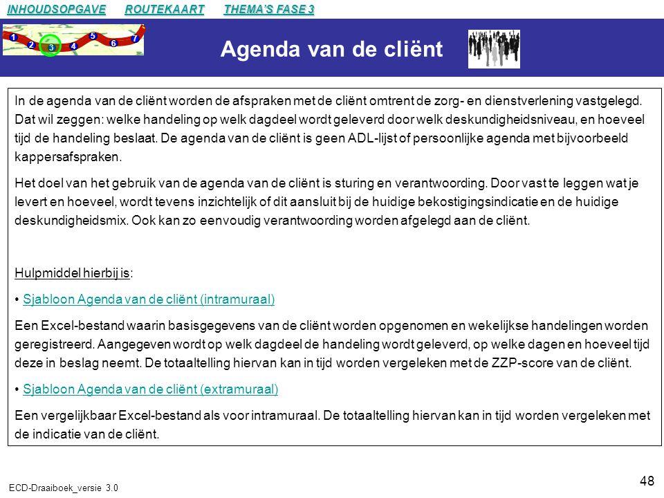 48 ECD-Draaiboek_versie 3.0 Agenda van de cliënt In de agenda van de cliënt worden de afspraken met de cliënt omtrent de zorg- en dienstverlening vastgelegd.