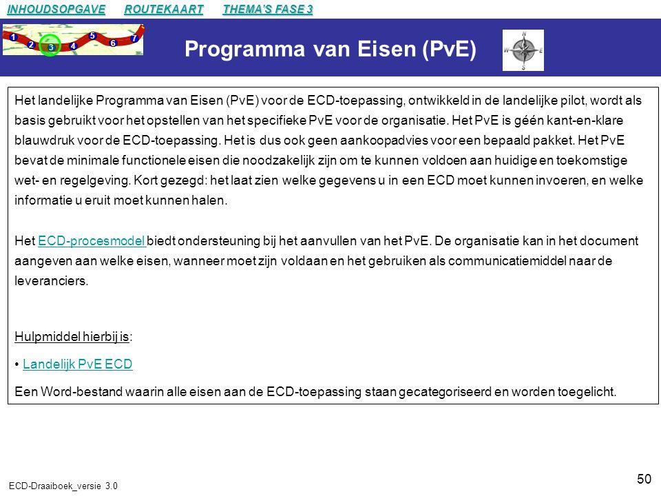 50 ECD-Draaiboek_versie 3.0 Programma van Eisen (PvE) Het landelijke Programma van Eisen (PvE) voor de ECD-toepassing, ontwikkeld in de landelijke pilot, wordt als basis gebruikt voor het opstellen van het specifieke PvE voor de organisatie.