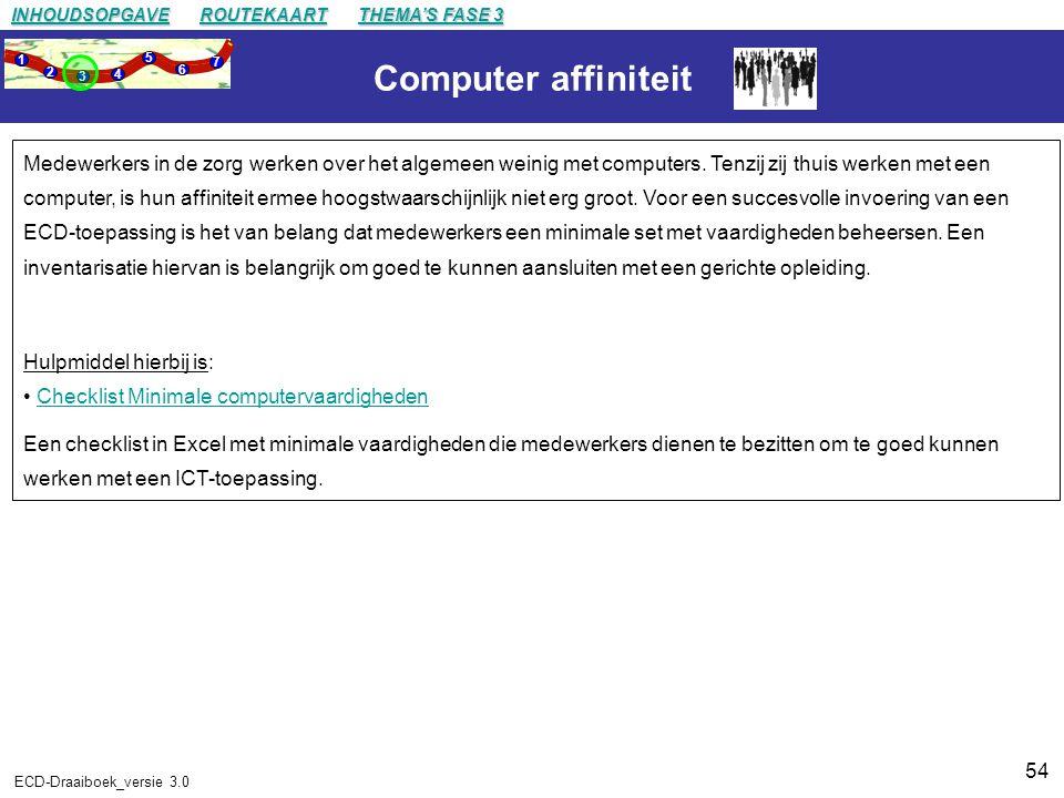 54 ECD-Draaiboek_versie 3.0 Computer affiniteit Medewerkers in de zorg werken over het algemeen weinig met computers.