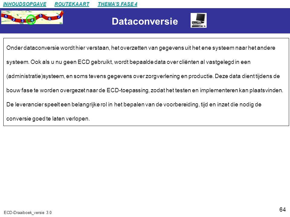 64 ECD-Draaiboek_versie 3.0 Dataconversie Onder dataconversie wordt hier verstaan, het overzetten van gegevens uit het ene systeem naar het andere systeem.