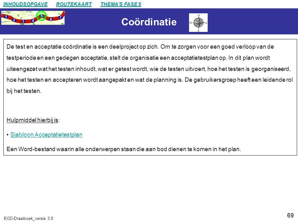 69 ECD-Draaiboek_versie 3.0 Coördinatie De test en acceptatie coördinatie is een deelproject op zich.