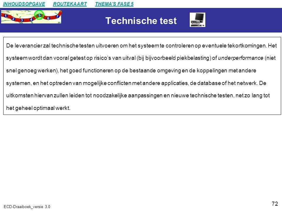72 ECD-Draaiboek_versie 3.0 Technische test De leverancier zal technische testen uitvoeren om het systeem te controleren op eventuele tekortkomingen.
