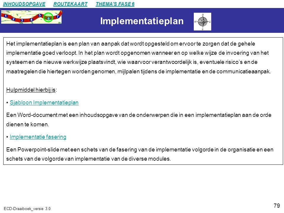 79 ECD-Draaiboek_versie 3.0 Implementatieplan Het implementatieplan is een plan van aanpak dat wordt opgesteld om ervoor te zorgen dat de gehele implementatie goed verloopt.