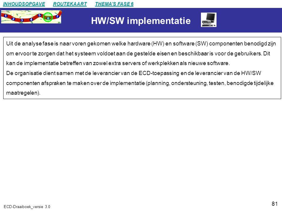 81 ECD-Draaiboek_versie 3.0 HW/SW implementatie Uit de analyse fase is naar voren gekomen welke hardware (HW) en software (SW) componenten benodigd zijn om ervoor te zorgen dat het systeem voldoet aan de gestelde eisen en beschikbaar is voor de gebruikers.